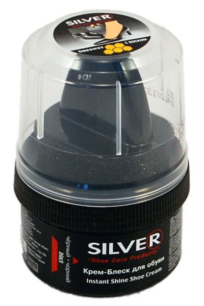 Крем-блеск для обуви Silver черный.