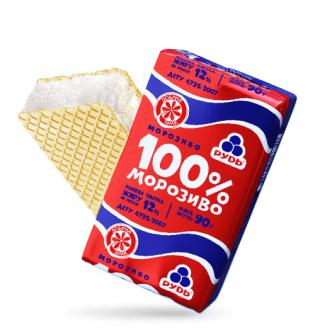 "Мороженое Рудь ""100% мороженое"" брикет"