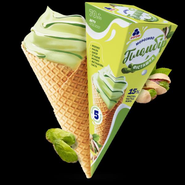 Мороженое Рудь Крем-пломбир Фисташка рожок